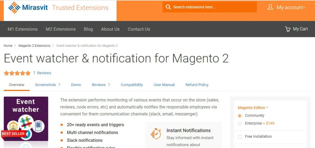 Event watcher & notification for Magento 2 | Mirasvit