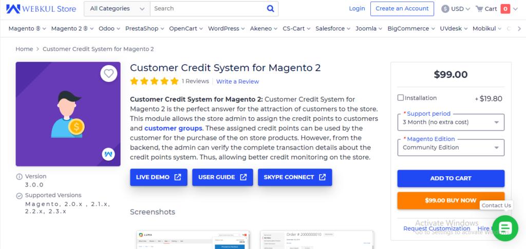 Webkul store credit