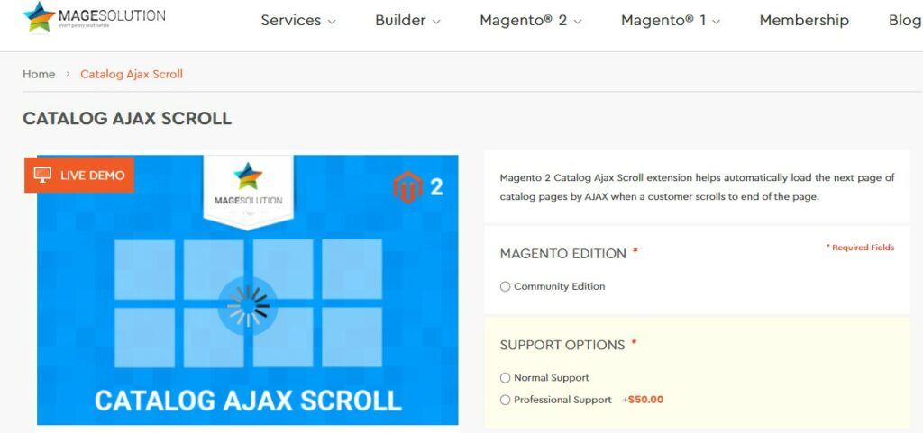 Magento 2 Catalog Ajax Scroll extension | Magesolution