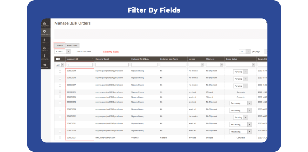 Magento 2 Bulk Order Processing supports filter by fields