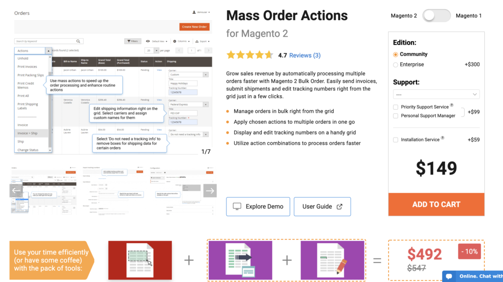 Mass Order Actions for Magento 2 Amasty