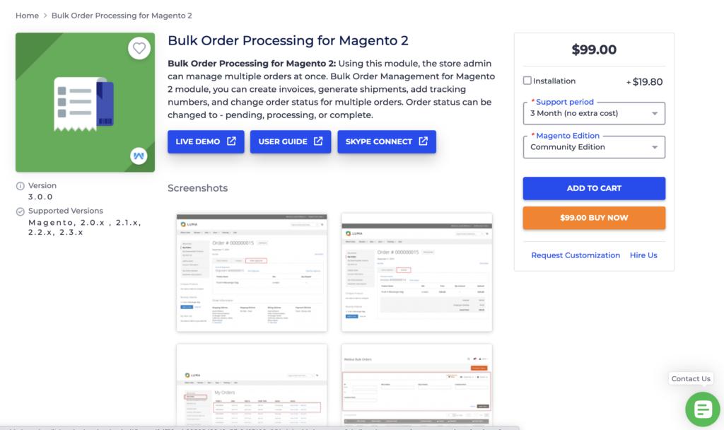Bulk Order Processing for Magento 2 Webkul
