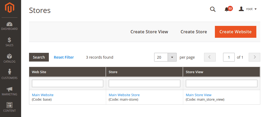 Magento CMS Store view backend