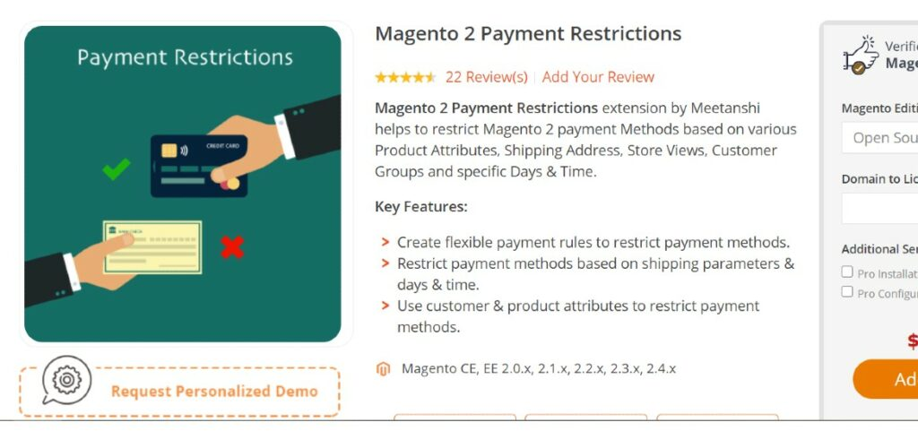 Magento 2 Payment Restrictions Meetanshi