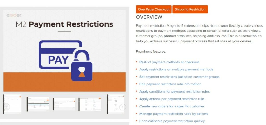 Magento 2 Payment Restrictions Extension