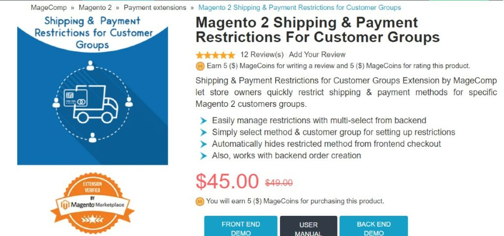 Magento 2 Shipping & Payment Restrictions For Customer Groups Magecomp