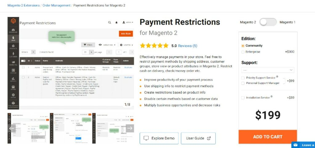 Payment Restrictions Amasty