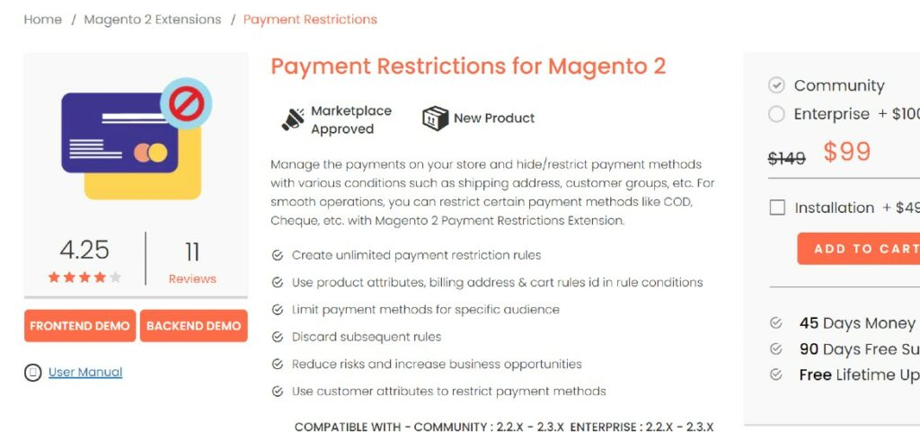 Payment Restrictions for Magento 2 Magedelight