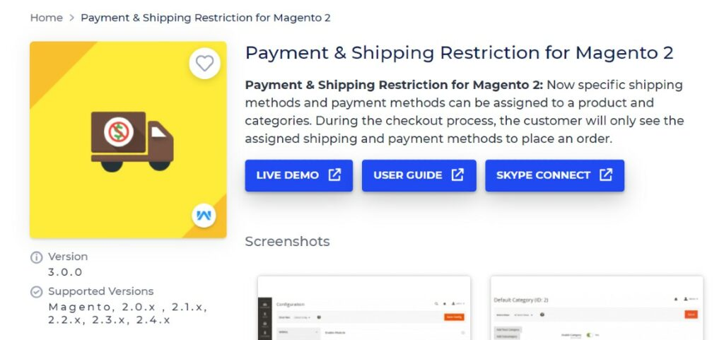 Payment & Shipping Restriction for Magento 2 Webkul