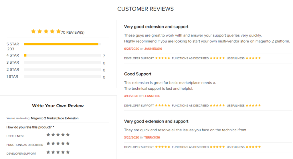 customer reviews on magento 2 marketplace extension