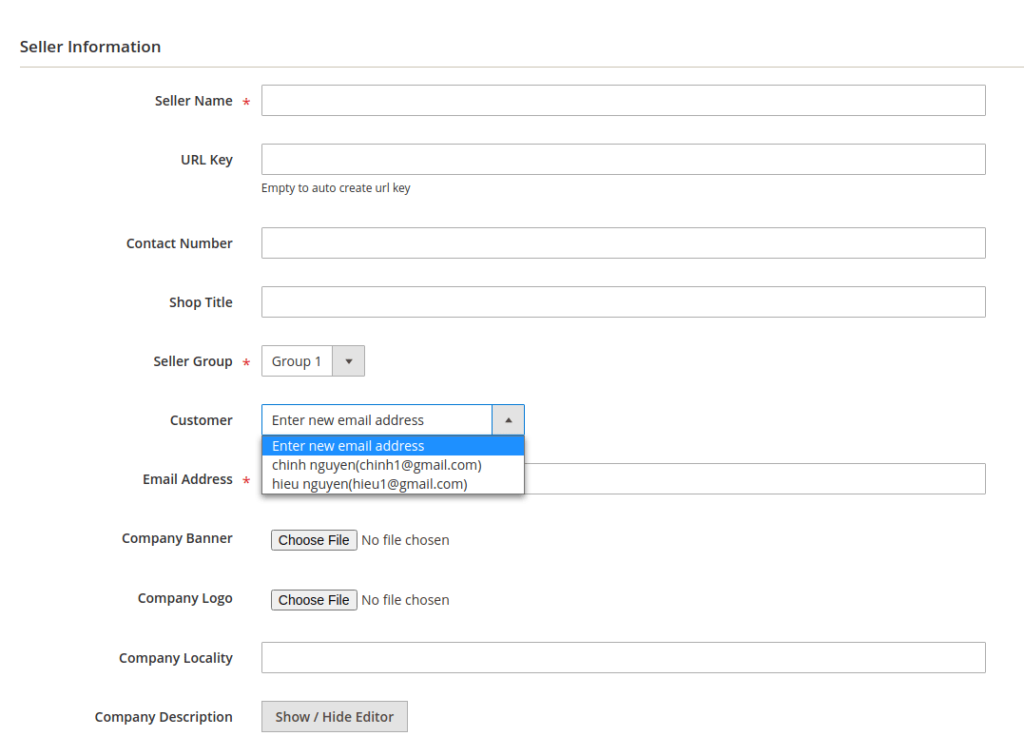 admin add seller information in the backend of magento 2 marketplace