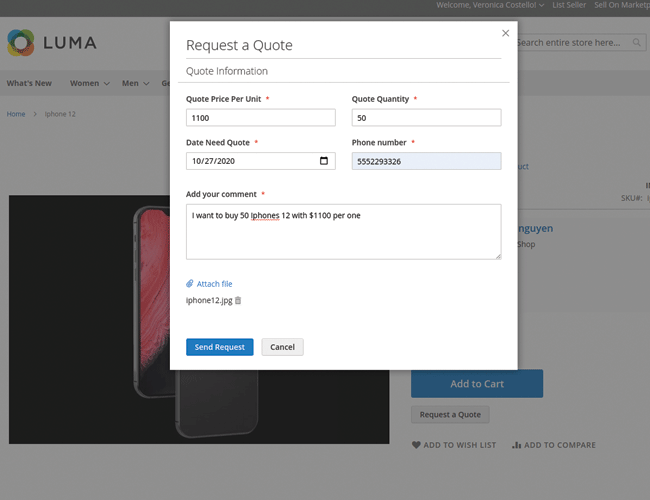 magento 2 Submit RFQ for a single product quickly
