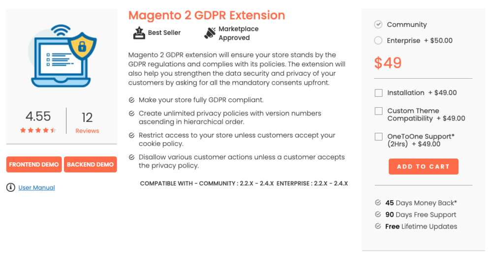 Magento 2 GDPR Extensions Magedelight