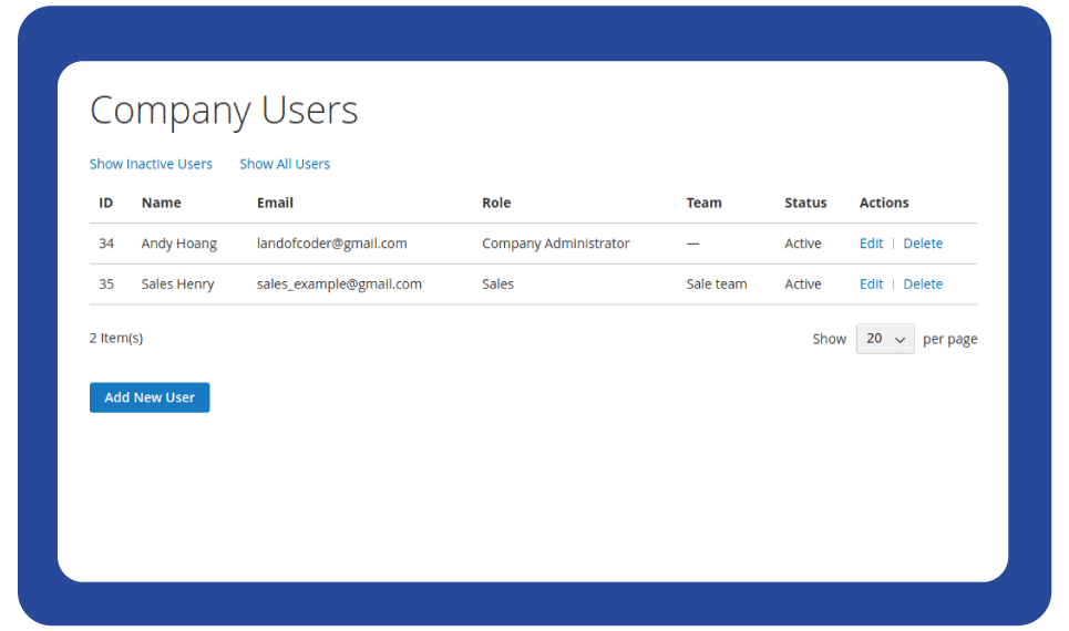 user magento 2 company account