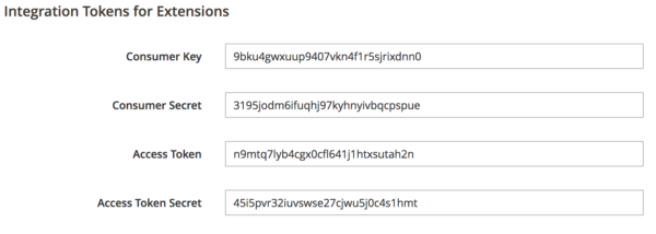 Intergration Tokens for Extensions