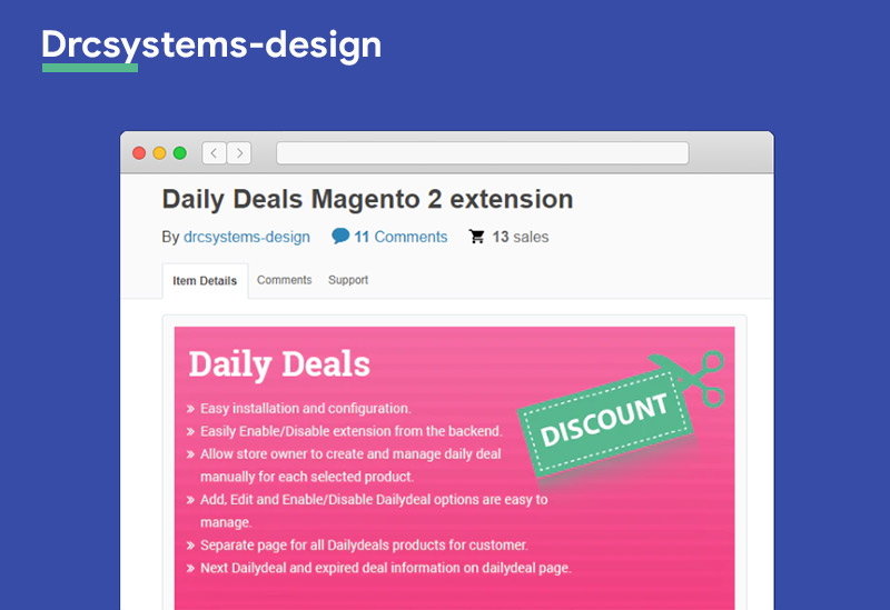 Daily Deals Magento 2 extension Drcsystems design